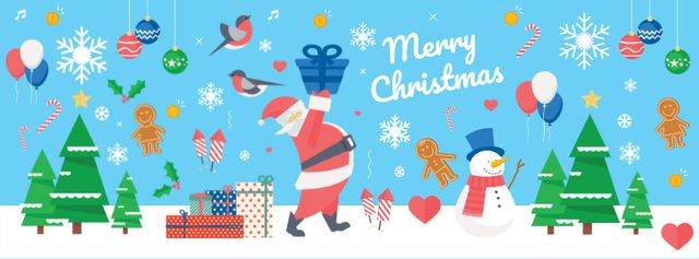 Christmas Holiday Greeting with Santa Delivering Gifts Facebook cover Design Template