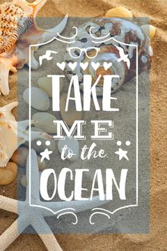 Vacation Theme with Shells on Sandy Beach