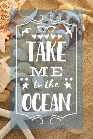 Vacation Theme with Shells on Sandy Beach Pinterest Design Template