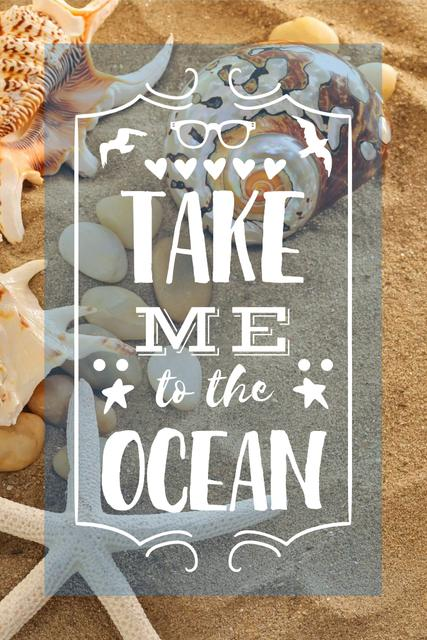 Modèle de visuel Vacation Theme with Shells on Sandy Beach - Pinterest