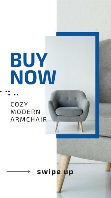 Furniture Store Ad with Grey Armchair Instagram Story Tasarım Şablonu