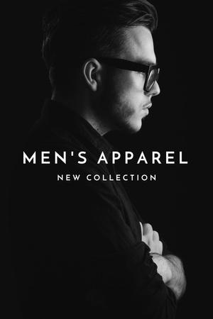 Ontwerpsjabloon van Pinterest van Man in stylish costume and glasses