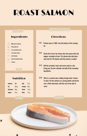 Designvorlage Raw Salmon steak für Recipe Card
