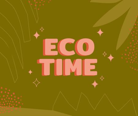 Modèle de visuel Eco concept with Green Leaves illustration - Facebook