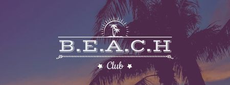 Summer Beach invitation Palm Trees at sunset Facebook cover – шаблон для дизайну