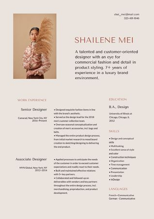Fashion Designer skills and experience Resumeデザインテンプレート