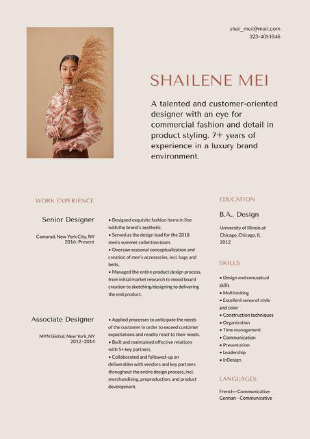 Ontwerpsjabloon van Resume van Fashion Designer skills and experience