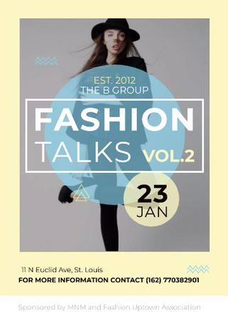 Ontwerpsjabloon van Flayer van Fashion talks announcement with Stylish Woman