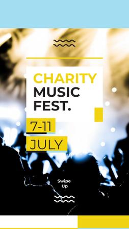 Charity Music Fest Announcement with Cheerful Crowd Instagram Story Design Template