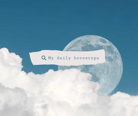 Daily Horoscope Announcement with Moon behind Clouds Facebook Tasarım Şablonu