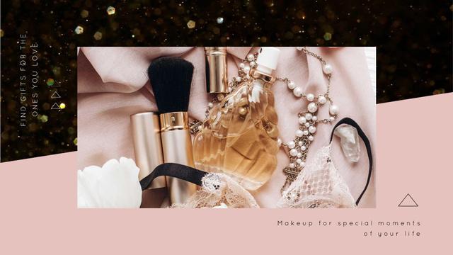 Cosmetics on the Pink Ribbon and glares Full HD video – шаблон для дизайна
