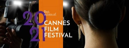 Szablon projektu Cannes Film Festival Announcement with actress Facebook cover
