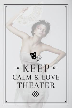 Plantilla de diseño de Theater Quote with Woman Performing in White Pinterest
