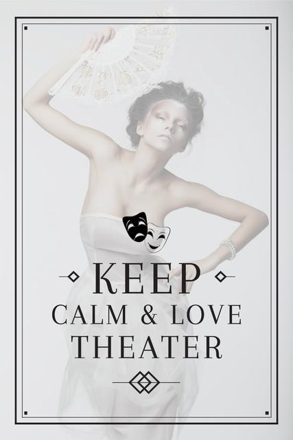 Theater Quote with Woman Performing in White Pinterest Modelo de Design