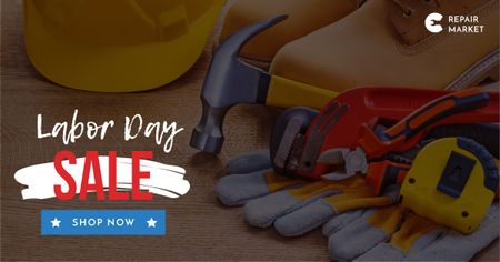 Plantilla de diseño de Labor Day Repair tools and hard hat Facebook AD