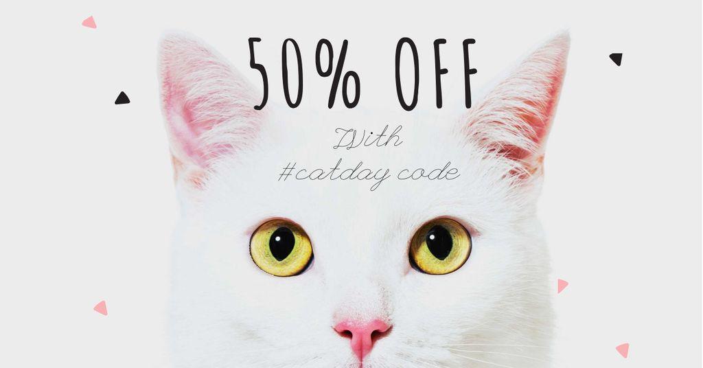 Cat Day Sale with Cute Kitty — Modelo de projeto