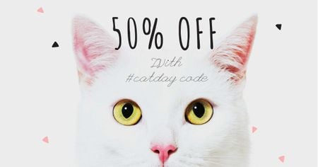 Ontwerpsjabloon van Facebook AD van Cat Day Sale with Cute Kitty
