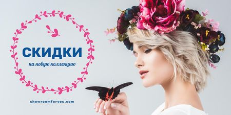 Blog Promotion with Woman in Flowers Wreath Twitter – шаблон для дизайна