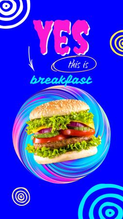 Funny Joke about Burger for Breakfast Instagram Story Modelo de Design