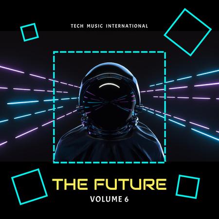 Astronaut in Neon Cyberspace Instagram Modelo de Design