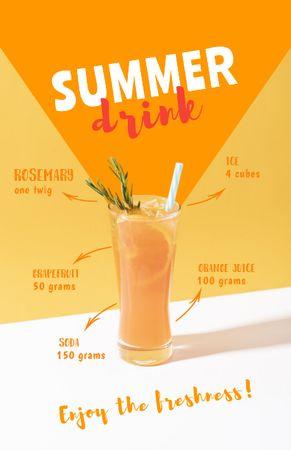 Ontwerpsjabloon van Recipe Card van Summer Drink in Glass with Straw