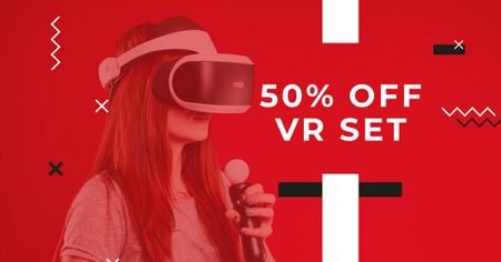 VR Set Discount Offer Facebook AD Modelo de Design