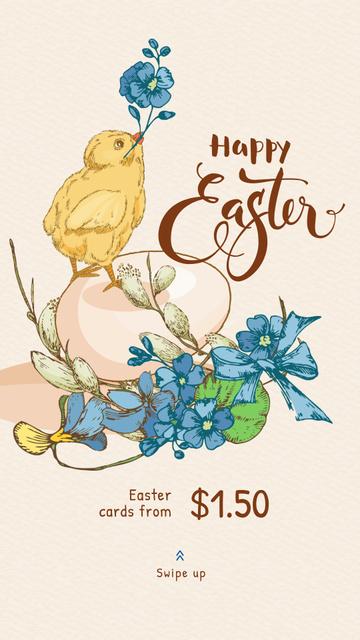 Plantilla de diseño de Chick with egg and flowers Instagram Story
