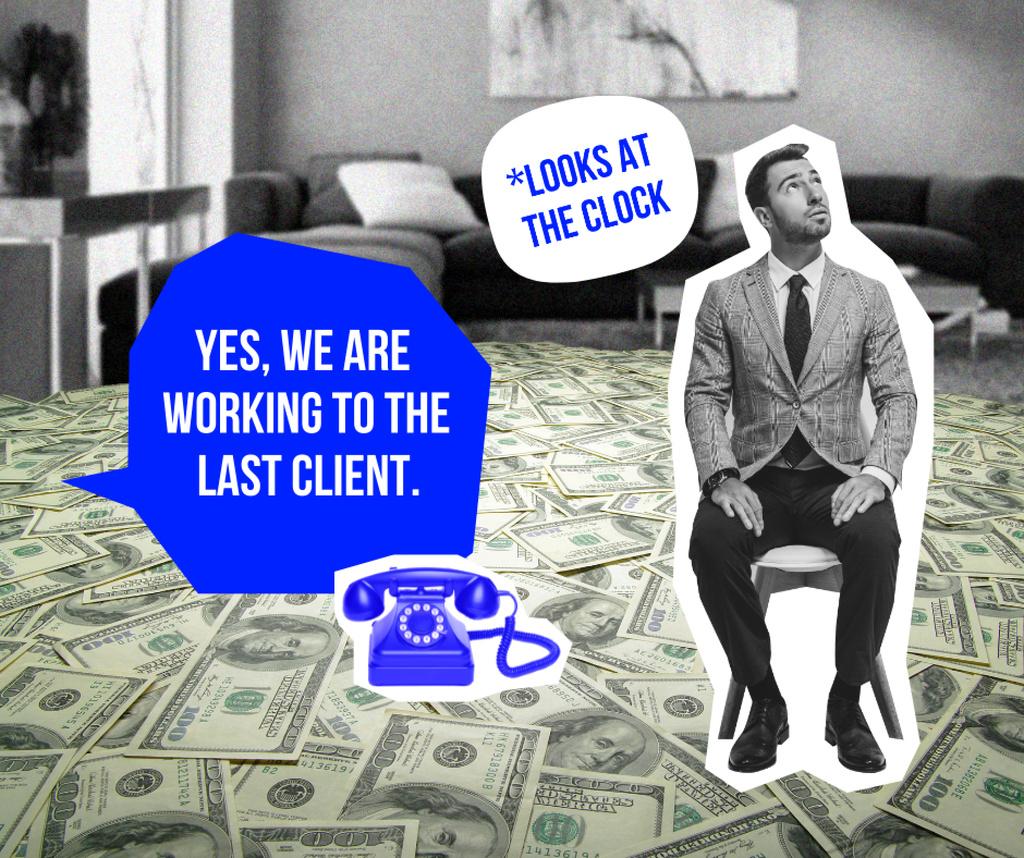 Funny Joke with Man in Room with Dollars Floor Facebook – шаблон для дизайну