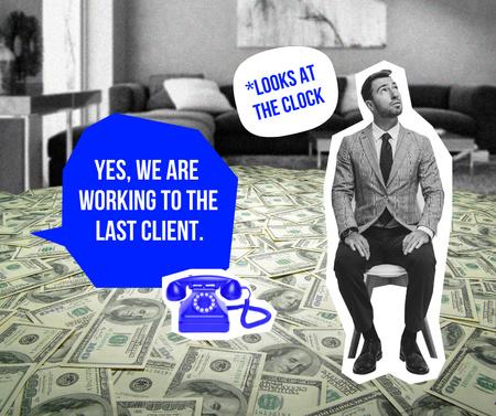 Funny Joke with Man in Room with Dollars Floor Facebook Modelo de Design