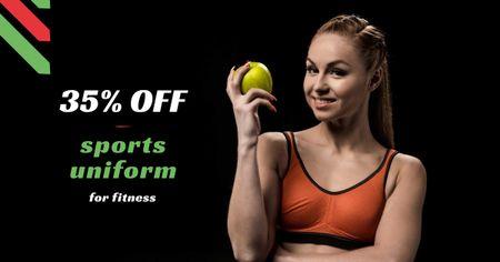 Designvorlage Sports Uniform Discount Offer with Woman holding Apple für Facebook AD