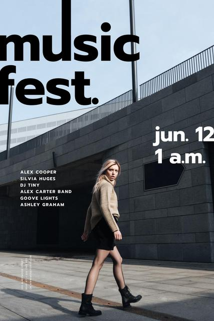 Music Fest announcement with Girl on street Pinterest – шаблон для дизайна