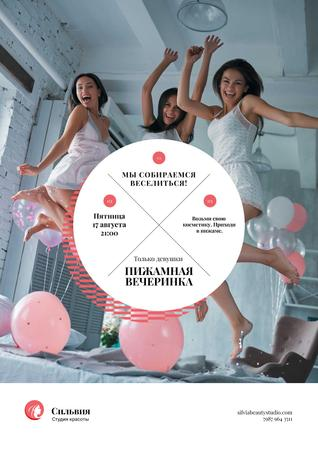Girls jumping on bed Poster – шаблон для дизайна