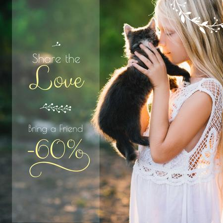 Sale announcement with Girl and Cat Instagram AD – шаблон для дизайну