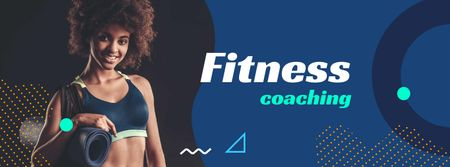 Designvorlage Fitness Coaching Offer with Athlete Woman für Facebook cover