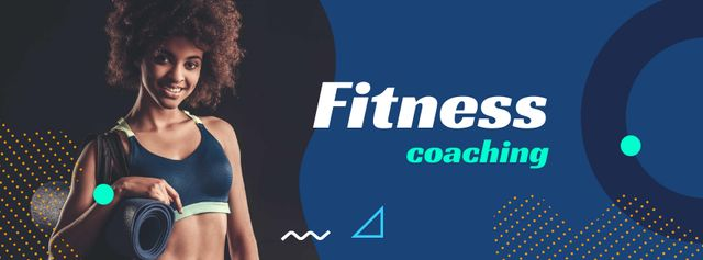 Fitness Coaching Offer with Athlete Woman Facebook cover Tasarım Şablonu