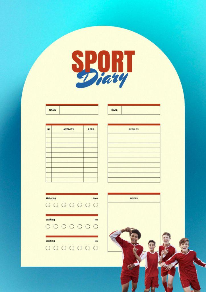 Sport Diary with Children in Sports Uniform Schedule Planner – шаблон для дизайна