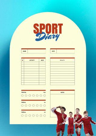 Plantilla de diseño de Sport Diary with Children in Sports Uniform Schedule Planner