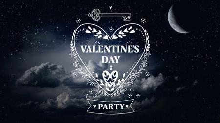 Valentine's Day Party Announcement with Dark Sky FB event cover Modelo de Design