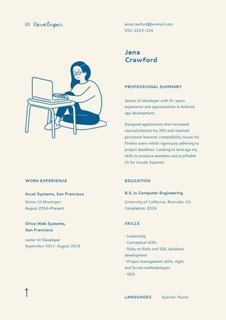 Plantilla de diseño de Web Developer skills and experience Resume