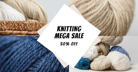 Knitting Course Discount Offer Facebook ADデザインテンプレート