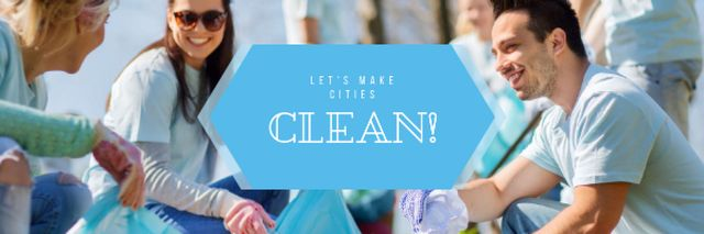 Ontwerpsjabloon van Email header van Ecological Event with Volunteers Collecting Garbage