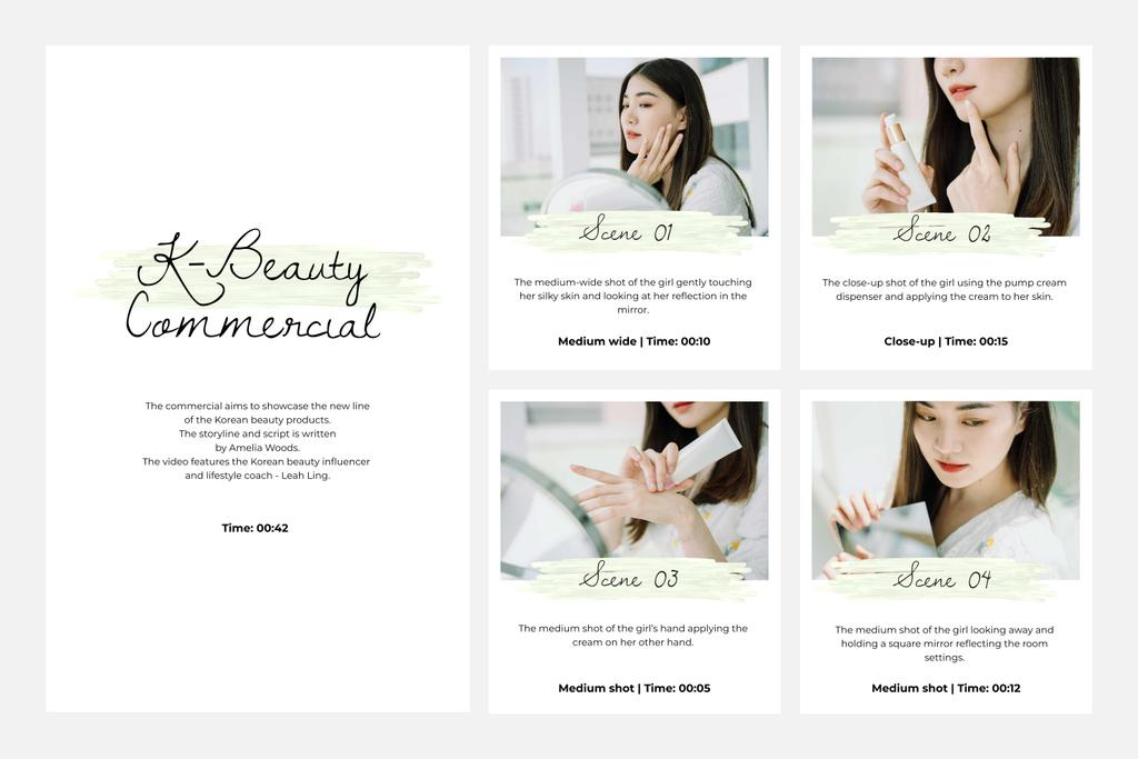 Young Woman applying cream Storyboard Design Template