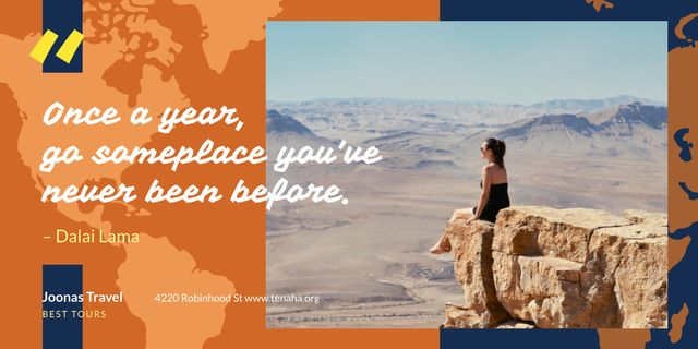 Travel Quote Woman Sitting on Rock Top Imageデザインテンプレート