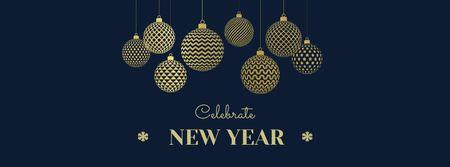 Plantilla de diseño de New Year Greeting with Festive Decorations Facebook cover