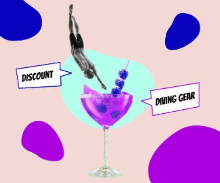 Platilla de diseño Funny Illustration of Sportsman jumping into Summer Cocktail Large Rectangle