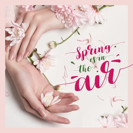 Female hands with spring flowers Instagram ADデザインテンプレート