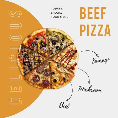 Yummy Different Pieces of Pizza Instagram – шаблон для дизайна