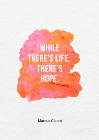 Inspirational Quote with Bright Watercolor Blots Poster Πρότυπο σχεδίασης
