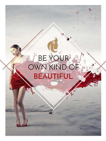 Ontwerpsjabloon van Poster US van Beauty quote with Young attractive Woman