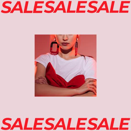 Designvorlage Women's Day Sale Girl with Stylish earrings für Instagram AD